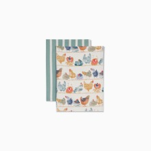 루스팅 키친 티타월세트  ROOSTING CHICHENS SET OF 2 TEA TOWELS